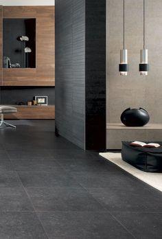Bedroom Closet Design, Grey Flooring, Modern Bathroom Design, Stone Tiles, Store Design, Tile Floor, Living Room Decor, House Design, Home Decor