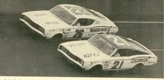 Cale Yarborough goes low to make a late race pass on Lee Roy Yarbrough to win the 1968 Daytona 500  http://www.floridastockcars.com/gallery3/v/Daytona/Buddy+Baker+with+the+Ray+Fox+Dodge+-+1968+Daytona+500___.jpg.html