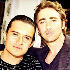 Legolas and daddy Thranduil.  Lee Pace is actually two years younger than Orlando Bloom, but it works in a weird kind of elvish way because of the gravitas Lee brings to the Elvenking.