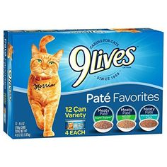 9Lives Paté Favorites Wet Cat Food Variety Pack, 5oz Cans (Pack of 12), Pack - Indulge your cat with the tender textures of 9Lives paté favorites variety pack cat food. Three decadent flavors feature soft, tender grounds made with real chicken or fish in an irresistible sauce for the taste they love with the nutrition they need for a long, healthy life.