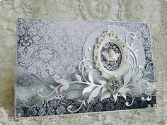 Мастер-класс Открытка Скрапбукинг Аппликация Ассамбляж Чёрное с серебром  открыточка+ мини-МК Бумага фото 1