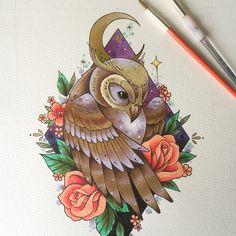 Owl art print tattoo print tattoo flash owl home decor owl Art Drawings Sketches, Animal Drawings, Tattoo Drawings, Desenho Tattoo, Owl Art, Colorful Drawings, Animal Tattoos, Art Tutorials, Art Pictures