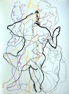 "Saatchi Art Artist avi rosen; Drawing, ""Nude in motion #1"" #art"