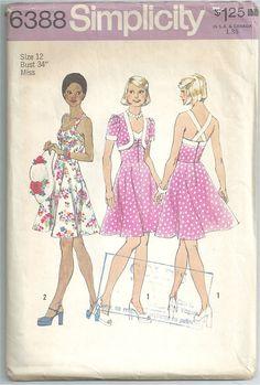 Vintage 50s style Simplicity Rockabilly Dress Pattern 1974