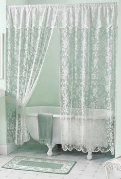 Beautiful Shower Curtains w Valance | Rose Lace Bath Shower Curtain