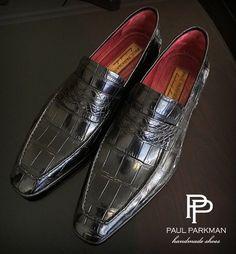 Paul Parkman Genuine Crocodile Penny Loafers in Black  Website : www.paulparkman.com