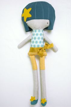handmade ragdoll made with cotton, linen and wool fabrics by PinkNounou