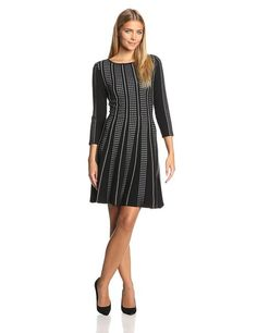 BCBGMAXAZRIA Women's Victoria 3/4 Sleeve A-Line Dress, Black Combo, X-Small