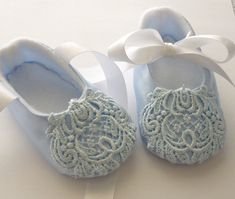 Beautiful Blue Satin and Lace Baby Shoes