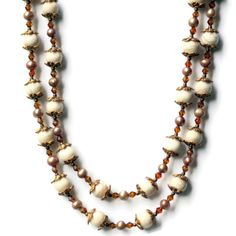 Extra Long White Cream Gold Necklace, Natural Stone Jewelry. Opera Necklace