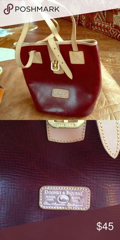 Dooney and bourke red leather should bag Reddish brown leather bucket style purse with beige leather details and straps Dooney & Bourke Bags Satchels