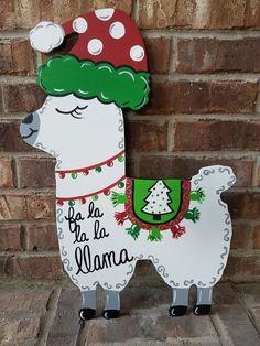 llama door hanger, Christmas llama door hanger, llama sign, Christmas door hanger, llama