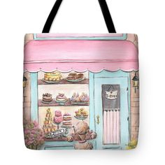 Laduree Patisserie Tote Bag featuring the painting Laduree Patisserie Paris by…