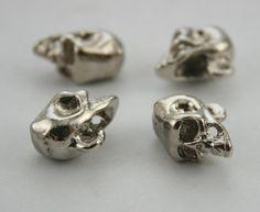 4 pcs. Silver Skull Skull Head Button Charms Pendants by StudRivet
