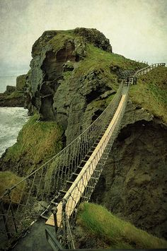 Carrick-a-Rede Rope Bridge, Antrim. Ireland. Apparently there is a toll of £5.60 - I expect to be paid to get onto that bridge its 98 ft above the water!