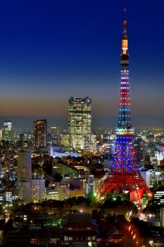 Glittering Tokyo Tower and Downtown cityscape