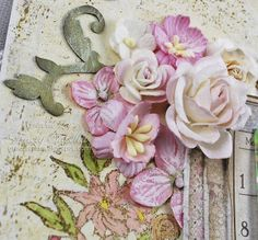 Days to Remember by Tracey Sabella for Once Upon A...Sketch ~ Close-up: Maja Design Vintage Spring Basics, Layering, Prima, Wild Orchid Crafts, Stamping, Watercolor Pencils Prismacolor, Chipboard, Inking, Gesso, Mixed Media, Splatter, OUAS