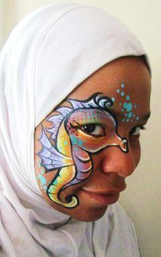 Tamina Muhammad || seahorse using Lea Shelley graffiti eye stencils