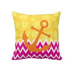Show off your own sense of fashion and style with this marine theme pillow with a girly hot pink and white chevron pattern on the bottom and lemon-yellow daisies on the top. This bright pink and yellow pillow is embellished with a chic orange boat anchor.
