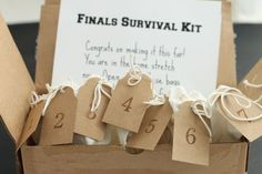 Send your college student a finals survival kit so he or she can count down the days until school is over. It's a quick and easy way to send your love.