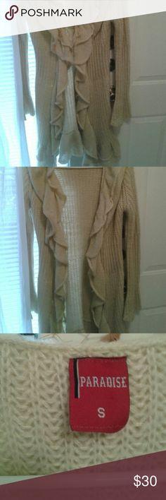 Long ruffle trim sweater small/medium Creamy biege  ruffled  midi sweater. Sweaters Cardigans