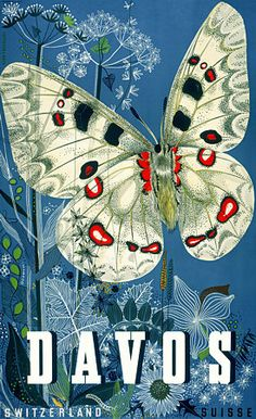 Davos Switzerland Butterfly Travel 1940s Vintage Poster Print