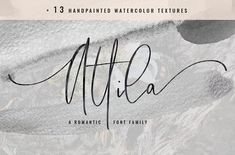 Attila Script + Watercolor Textures by Sinikka Li on @creativemarket