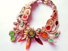 SOUTACHE Soutache necklace summer rainbow