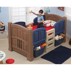 Step2 Boys' Loft & Storage Twin Bed, Multicolor
