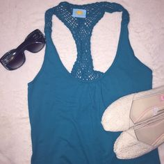 Teal Crochet C&C California Tank Top Medium Teal crochet C&C California tank top in size medium. Material is 100% cotton. This top is perfect for summer! Has a relaxed fit. Purchased from Nordstrom. Also available in pink. C&C California Tops Tank Tops