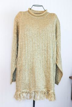 42ecd716e Vintage Metallic Gold Sweater Pant Set with Fringe - Size 1X Tall Gold  Sweater