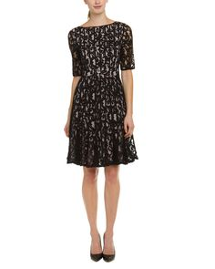 Adrianna Papell Black & Blush Lace Fit & Flare Dress
