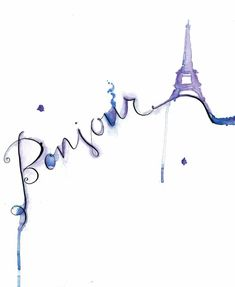 Print from original watercolor-calligraphy collection: Bonjour