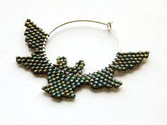Dark Halloween bat earrings beaded jewelry by LaGansaHandiwork