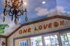 One Love Mural painting and Blue Sky on Pool House Walls and Ceilings Sustainable Practices, Wall Finishes, House Wall, Mural Painting, Surface Design, Ceilings, Art Decor, First Love, Walls