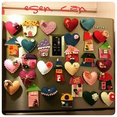 keçe, keçe ev, keçe magnet, magnet, felt, feltro, felt house, felt magnet, keçe kalp, felt heart