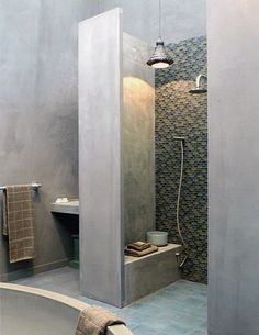 Bathroom decor: Ready to begin creating your own bathroom design? Hunting for bathroom design ideas and inspiring bathroom decor for a renovation project? Click the link for Concrete Shower, Concrete Bathroom, Concrete Bench, Concrete Tiles, Bad Inspiration, Bathroom Inspiration, Bathroom Toilets, Small Bathroom, Budget Bathroom