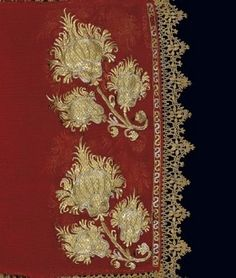 Ottoman Era Embroideries from Greece in the Benaki Museum, Athens - Detail of the gold-thread embroidery on a sleeve of a bridal chemise. From Skyros island, c. Greek Traditional Dress, Traditional Art, Gold Embroidery, Cross Stitch Embroidery, Deep Autumn Color Palette, Turkey History, Benaki Museum, Tribal Costume, Turkish Art