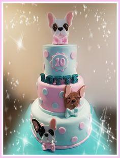 French bulldog cake
