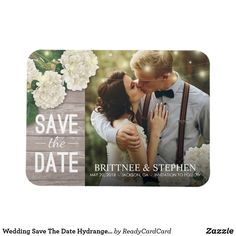 Wedding Photo Save The Date Hydrangeas Lights Wood Magnet - rustic wedding marriage love cyo Unique Save The Dates, Save The Date Photos, Save The Date Postcards, Wedding Save The Dates, Save The Date Cards, Save The Date Invitations, Wedding Invitation Cards, Save The Date Templates, Postcard Template