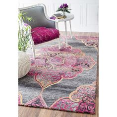 nuLOOM Handmade Medieval Medallion Grey Rug (5' x 8') | Overstock.com Shopping - The Best Deals on 5x8 - 6x9 Rugs