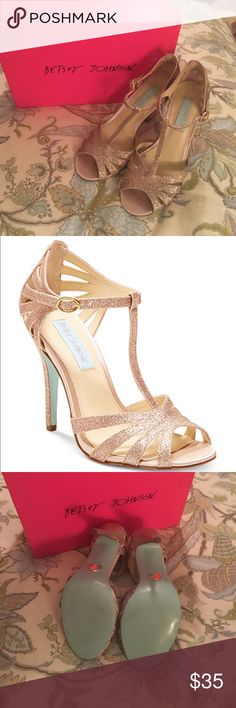 Betsey Johnson - Evening Sandals. Color: Champagne Betsey Johnson - Evening Sandals. Color: Champagne. Worn once at a wedding. Size: 6.5 Betsey Johnson Shoes Heels