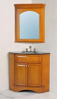 Make the most of your space with this Corner vanity and mirror!  28 Inch Corner Single Sink Vanity with Black Galaxy Granite Top and Mirror at Home Depot
