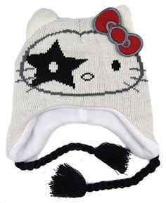 ec0097a8813 Older Girls Hello Kitty Kiss Peruvian Style Fleece Lined Hats Four Styles  (White)
