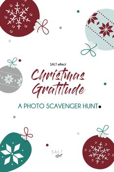 We spend so much time focusing on gratitude in November, and then we immediately follow it up with shopping sprees and gift lists. Our Christmas photo scavenger hunt is a fun and interactive way to help your family refocus on everything you have this holiday season.