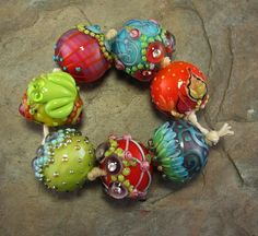 Bollywood Chunkies Parameshwari Lampwork Bead Set by flamekeeper, $85.00