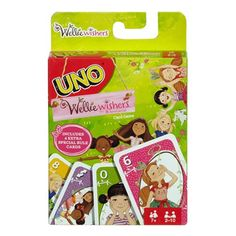 Uno Wellie Wishers Game - Mattel - American Girl - Games - Enjoy the beloved game Uno, with an adorable Wellie Wishers twist! This Uno Wellie Wishers Game includes the Kindness Card, which allows you to enjoy this classic game in a new way! Score points by discarding all the cards in your hand. But, don't forget to yell Uno! when you're down to your last card! The first player or team to 500 points wins. This Uno card game pack includes 112...