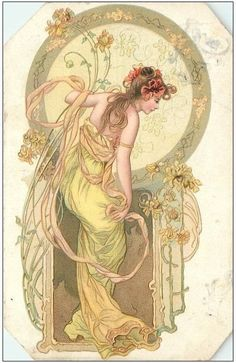 French Art Nouveau Advertising Postcard 'Spiced Bread' With a female as the main focus of the piece it is accompanied by spaghetti like hair. As well as vines and flowers that is known throughout the art nouveau movement Art Nouveau Mucha, Alphonse Mucha Art, Art Nouveau Poster, Art Nouveau Flowers, Motif Art Deco, Art Nouveau Design, Design Art, Posters Vintage, Art Vintage