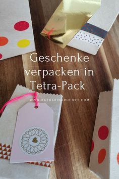 Zero Waste Geschenkverpackung aus Tetra-Pack selber machen Tetra Pack, Zero, Playing Cards, Games, Wrapping Gifts, Stocking Stuffers, Homemade, Tips, Playing Card Games