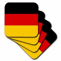 3dRose Flag of Germany - German black red yellow gold horizontal stripes - European Europe country world, Soft Coasters, set of 8